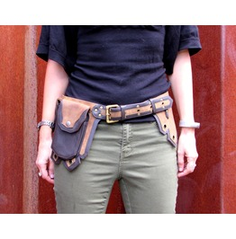 One Leaf Leather Belt Waist Pack Multi Pocket Hip Belt