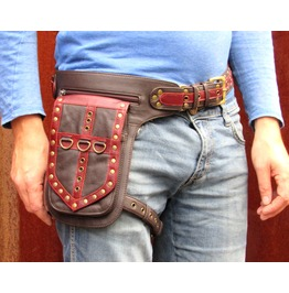 One Leaf Leather Holster Utility Belt Thigh Bag In Red And Brown