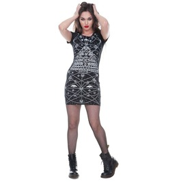 Catacombs Pyramid Dress With Skull Back Black Punk Goth