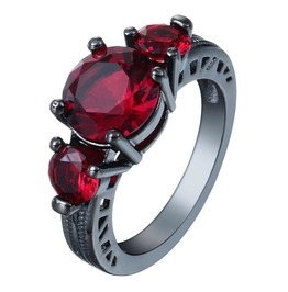 Victorian Black Gold Filled Ring With Red Cubic Zirconia Stones