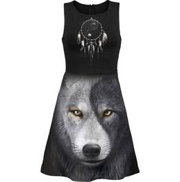 Women Black New Wolf Mesh Layered Midi Skater Dress