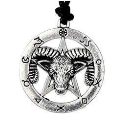 Tibetan Silver Ram Horns Pentagram Pull Cord Necklace