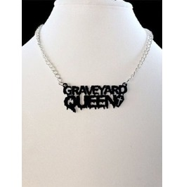 Graveyard Queen Necklace, Halloween, Horror, Gothic Jewellery, Acrylic