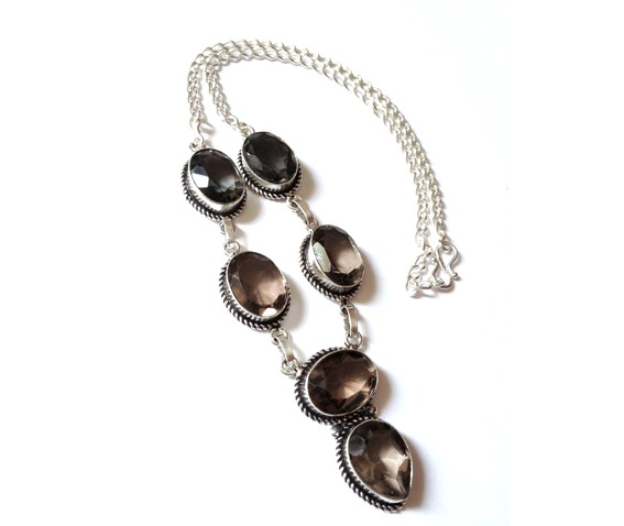 Enchanting 925 Silver Smokey Quartz Necklace 44cm_Bands_2.jpg
