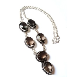 Enchanting 925 Silver Smokey Quartz Necklace 44cm