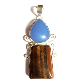 Fab! 925 Silver Tigers Eye & Angelite Teardrop Pendant