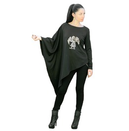Embroidered Angel Women's Top Loose Oversized Asymmetrical Women Tunic