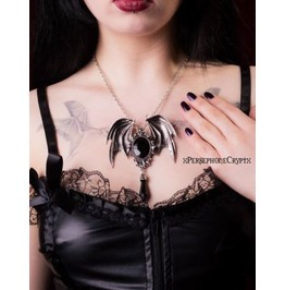 Restyle Della Morte Noir Bat Wing Necklace, Gothic Bat, Victorian