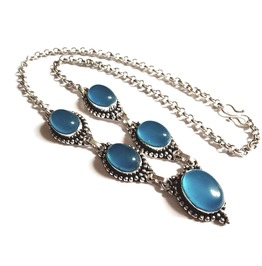 Enchanting 925 Silver Blue Cats Eye Gemstones Necklace