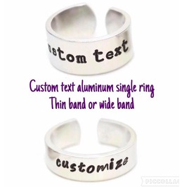Custom Text Quote Adjustable Aluminum Metal Stamped Ring Wide Or Thin Band