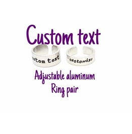 Custom Text Quote Adjustable Aluminum Metal Stamped Ring Pair