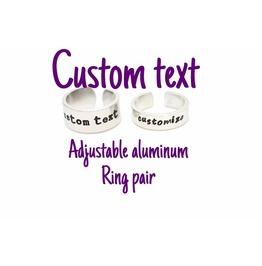 Custom Text Quote Adjustable Aluminum Metal Stamped Ring Pair