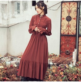2017 Early Spring Ethnic Style Pure Color Dress