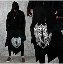 Asymmetric Wrap Skirt Layered Lettering Black Sweatpants 201
