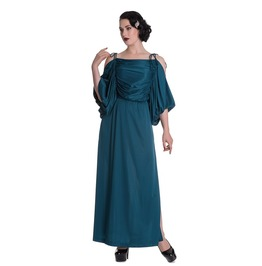 Brand New Vintage Inspired Grecian Glam Teal Evening Maxi Dress