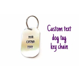 Custom Text Quote Metal Stamped Aluminum Dog Tag Keychain Double Sided