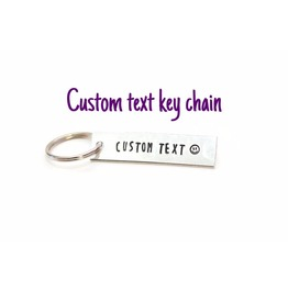 Custom Text Quote Metal Stamped Aluminum Key Chain Doubled Sided