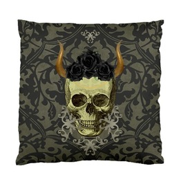 Skull With Horns With Black Roses Charcoal Damask Cushion Cover