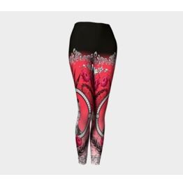 Funky Red Black And White Frida Kahlo With Vintage Flowers Art Leggings