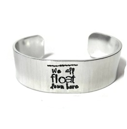 Horror Themed Custom Text Aluminum Metal Stamped Cuff Bracelet 3/4 Inch