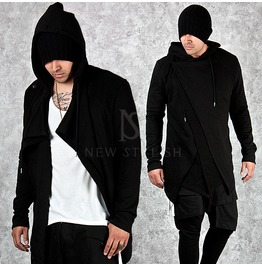 Asymmetric Closure Accent Black Long Hoodie 102