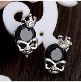 Crowned Skull Black Cubic Zirconia Earrings