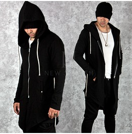 Asymmetric Black Slim Long Zip Up Hoodie 103
