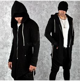 Asymmetric Black Slim Long Zip Up Hoodie 103
