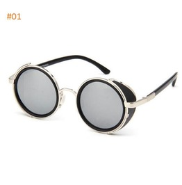 Unisex Goth/ Steampunk Style Round Mirrored Lens Sunglasses 8 Colors Availa