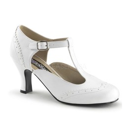 Funtasma White T Strap Kitten Heels