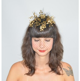 Fascinator Headpiece With Feathery Gold Foliage And Black Cascading Veil