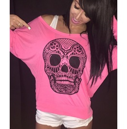 Skull Print Women Long Sleeve T Shirts