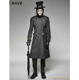 Gothic Military Uniform Long Coat For Men