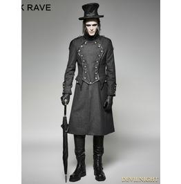 Gothic Military Uniform Long Coat For Men