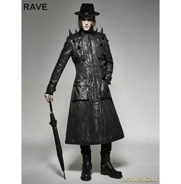 Black Gothic Heavy Punk Long Leather Coat For Men