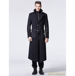 Black Gothic Punk Fake Two Piece Long Coat For Men