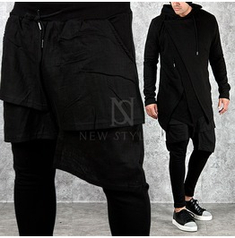 Cover Layer Accent Shirring Pocket Black Sweatpants 205
