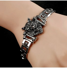 Stainless Steel Wolf Head Chain Link Bracelet
