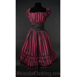 Red Striped Gothabilly Dress