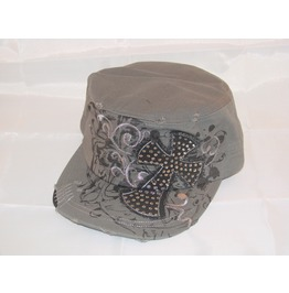 Gothic Distressed Gray Cross Hat