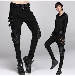 Harem Patchwork Leather Pocket Punk Style Pants