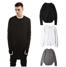 High/Low Men's Long Sleeved Casual T Shirt