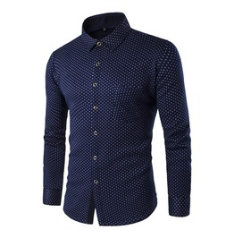 Men's Casual Long Sleeved Printed Button Down Shirt