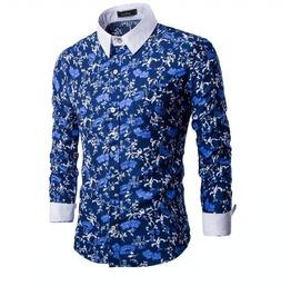 Men's Flower Button Down Long Sleeved Shirt