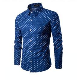 Men's Boat Anchor Printed Long Sleeved Shirt