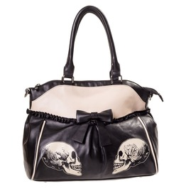 New Gothic Handbag Roses Faux Leather Black Shoulder Bag