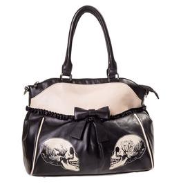 New Gothic Handbag Roses Faux Leather Black Shoulder Bag