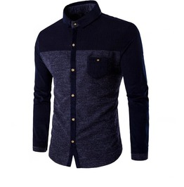 Men's Wool Mosaic Hit Color Button Front Shirt