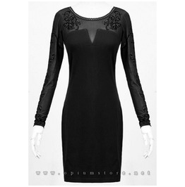 Bodycon Alternative Gothic Flocked Velvet Mesh Mini Dress Punk Rave Brand