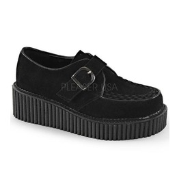 Demonia Black Suede Two Inch Buckle Creepers